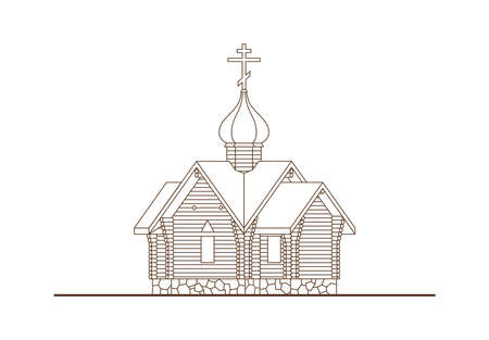 Line sketch of wooden church isolated on white background. Historical architectural building with dome and cross. Ancient temple in rustic style. Vector illustration