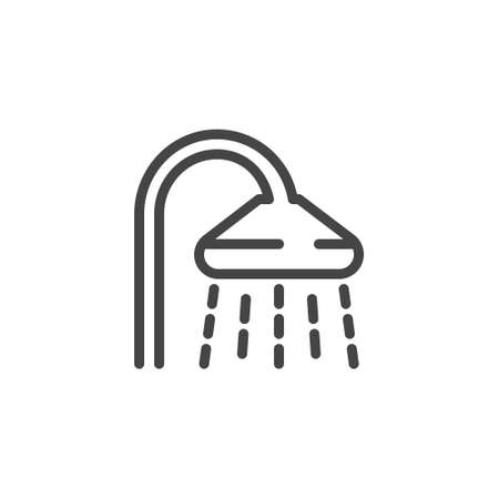Shower head linear icon. Bathroom outline symbol for hotels, hostels, apartaments, room service. Pictogram for printed catalogs, sites, applications. Vector illustration isolated