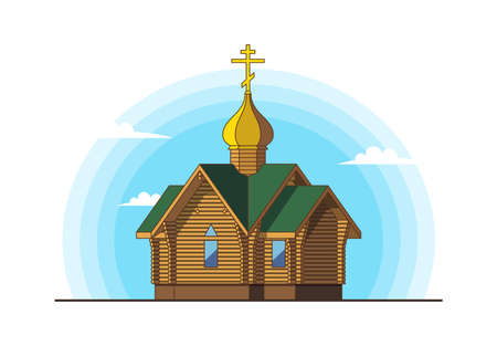 Wooden church on background of blue sky with clouds. Historical architectural building with golden dome and cross. Religious theme. Vector illustration