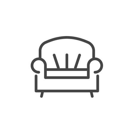 Sofa icon in linear design. Room service label, symbol for site of hotels, hostels, apartments booking. Lounge pictogram. Vector illustration in line style isolated 版權商用圖片 - 133924022