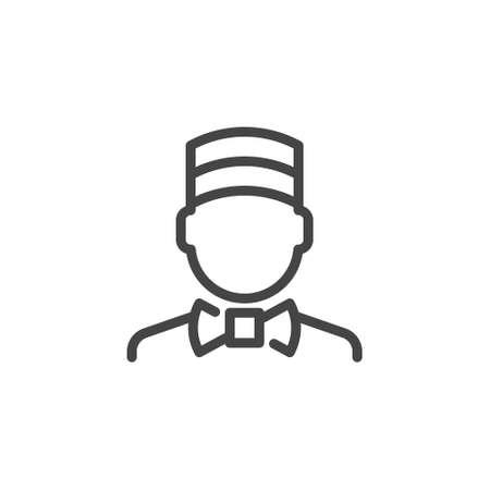 Concierge icon. Doorman outline logo. Porter line pictogram. Label employee of hotel, Motel, inns. Linear doorkeeper emblem for websites, print catalogs and mobile applications. Vector illustration