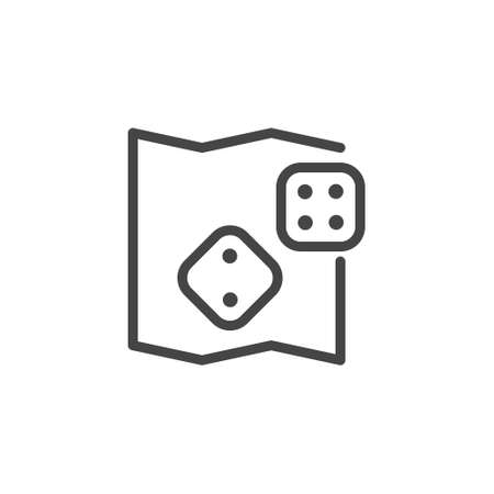 Game dice icon. Entertainment zone, lounge, casino, board games concept label. Recreation area in hotel, hostel, shopping center and other places. Vector illustration isolated on white