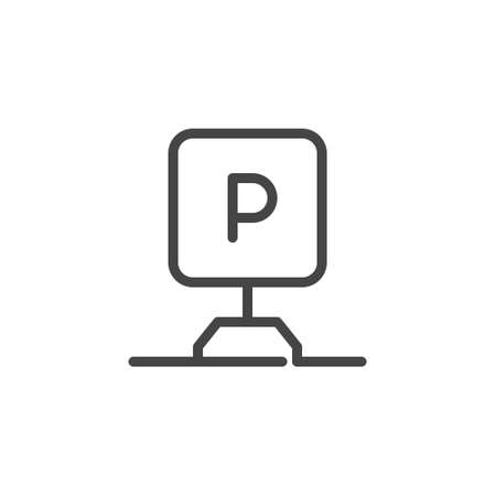Parking zone sign. Linear icon indicating that there is parking in a hotel, motel, apartment, shop and other public places. Logo for sites, mobile apps, print leaflet. Vector illustration isolated 向量圖像