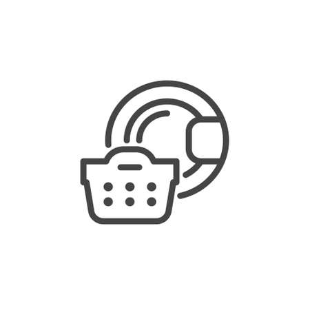 Laundry icon for hotels, motels, inns, apartments sites, mobile applications and print production. Basket of linen and sign of the washing machine linear logo. Vector illustration isolated Stock Illustratie
