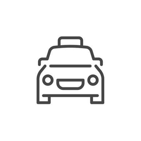 Car line icon. Symbol of buying or booking transport, traveling by auto, parking at hotel, restaurant and other places. Graphic contour label. Vector illustration isolated on white 向量圖像