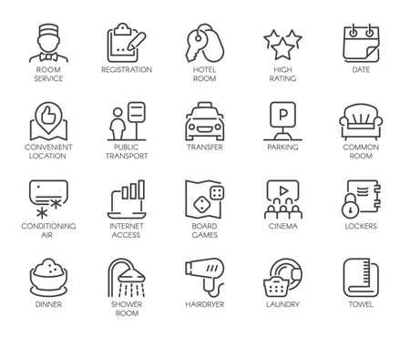 Conjunto de 20 iconos de línea de servicio de habitaciones. Etiquetas de contorno para hoteles, hostales, apartamentos, sitios de reserva de condominios y aplicaciones. Pictogramas aislados. Ilustración de contorno vectorial Ilustración de vector