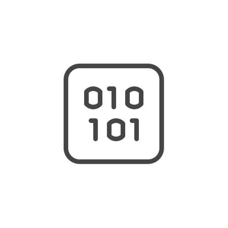 Icon of binary programming system. Abstract coding numbers one and zero. Software data algorithm concept. Number 0, 1 in squar. Symbol for blockchain series. Vector illustration isolated