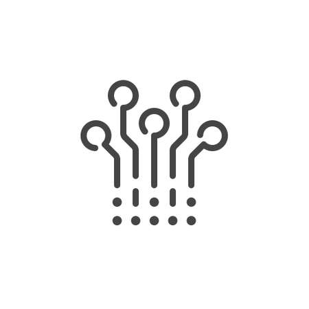 Circuit tree line icon. Scheme for microchip, connector, processor concept. Cryptographic engineering outline sign. Symbol for blockchain series. Vector illustration isolated