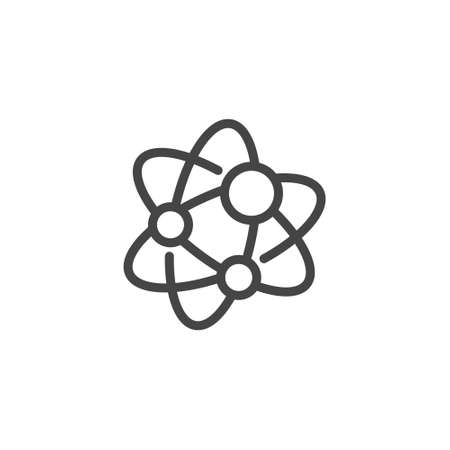 Blockchain communicating nodes outline icon. Logo for blockchain technology. Molecule connected lines of block chain technology. Label for cryptocurrency transactions and cryptographic network