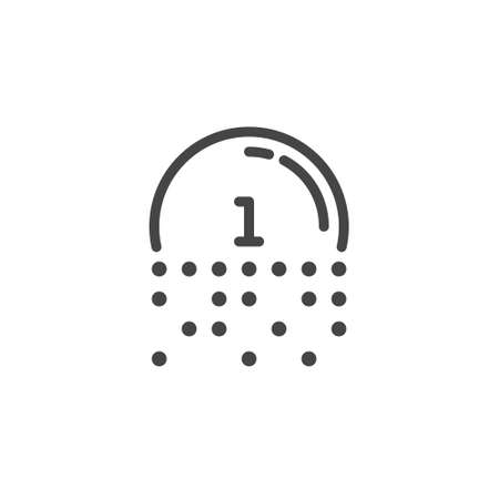 Number one in fading circle. Linear icon for cyber theme, encryption of values, virtual reality. Code for information interchange concept label. Symbol for blockchain series. Vector isolated Stock Illustratie