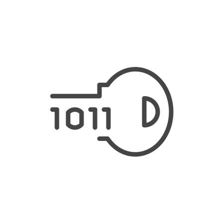 Key and cipher icon. Program binary code for electronic lock, encryption software concept label. High tech cyber defense. Symbol for blockchain series. Vector illustration isolated