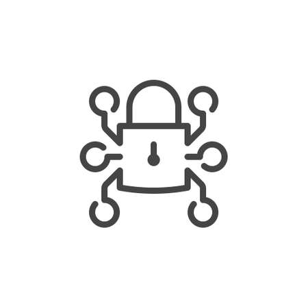 Icon of padlock in computer technology. Lock and block chain concept sign. System for protecting and safety information data, payments, passwords. Symbol for blockchain series. Vector isolated