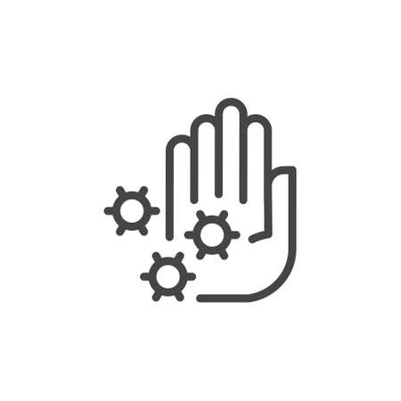 Palm and virus - stop epidemic coronovirus concept icon. Preventive measures against flu and colds, 2019-ncov protection. Immune response, resistance to germs. Vector illustration isolated