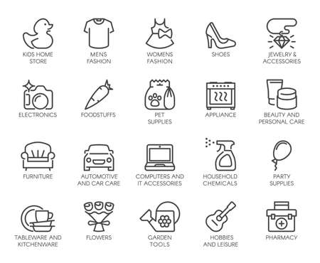Shopping Mall Wayfinding Shop Category Outline Icons Set