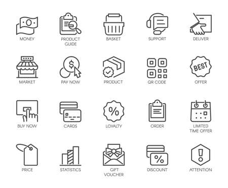 Icons Set Shopping, E-commerce, Online Store Category 矢量图像