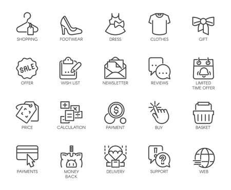 Icons Set Shopping, E-commerce, Department Online Store 矢量图像