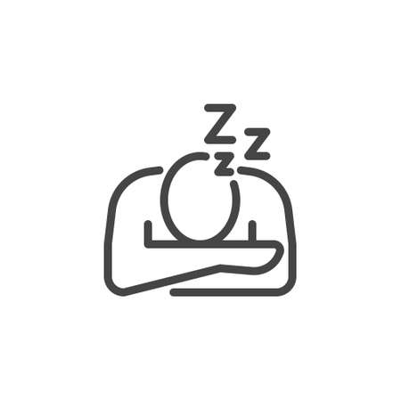 Icon Symptoms Infection, Fatigue Burnout Sleeping Work 矢量图像