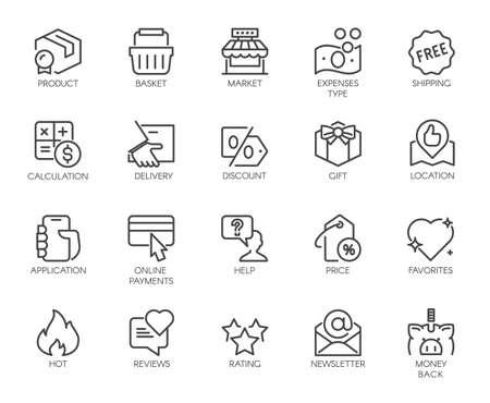 Outline Icons Set Shopping, E-commerce, Online Store