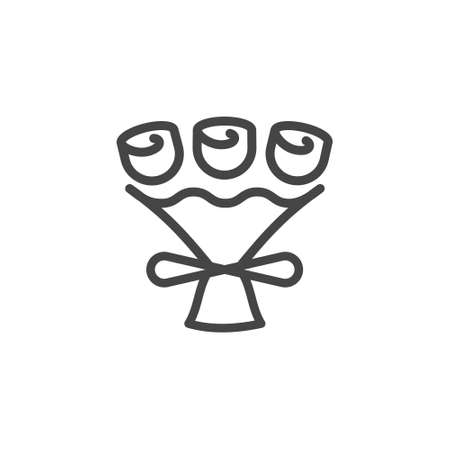 Icon of flower shop buying bouquets checkout, online shopping, e-commerce concept outline symbol. Vector