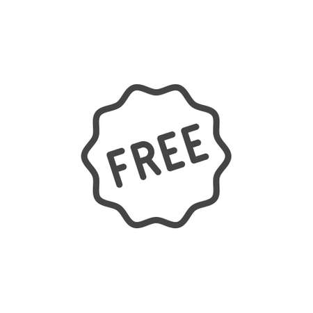 Free line icon. Gift or present for purchase. Label for services, online stores, markets. Sign, promo offer, e-commerce 矢量图像