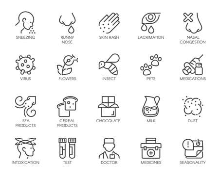Icons Symptoms Allergy, Allergic Reaction, Allergens. Line Signs Lacrimation Pollen Sick Man. Vector Icons Set Outline. Illustration