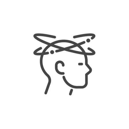 Dizziness outline icon. Graphic pictogram of man with vertigo - symptom of migraines, high blood pressure, colds, flu, coronavirus, stress, weariness. Vector illustration isolated 矢量图像
