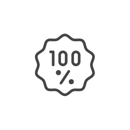 Icon one hundred percent line label. Top buyers choice, quality assurance, natural product, organic food. Ad sign for services, online stores and mobile apps. Vector isolated