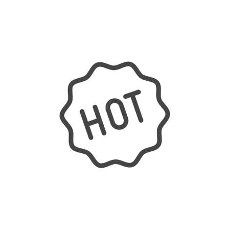 Sticker hot icon. Pictogram for e-Commerce or printed products in line style. Label for services, online shops and mobile apps. Advertising sign, promotional concept. Vector illuctration isolated