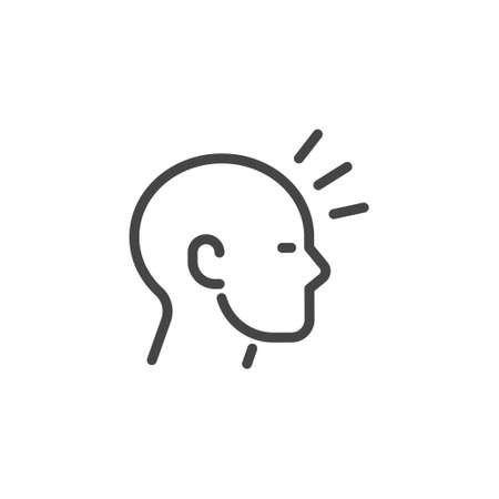 Icon in Outline Style From the Set Premium Icons on Symptoms Virus Infection, Cold and Flu. Such Line Symbol as Acute Headache or Migraine, Head of Man With sign of Pain. Custom Vector Pictogram.