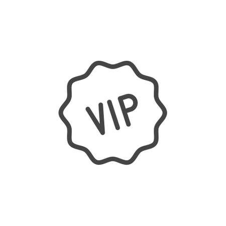 VIP icon. Privileged status concept for online services, stores, markets and mobile applications, sticker for printed products. Vector illustration in line style isolated on white background