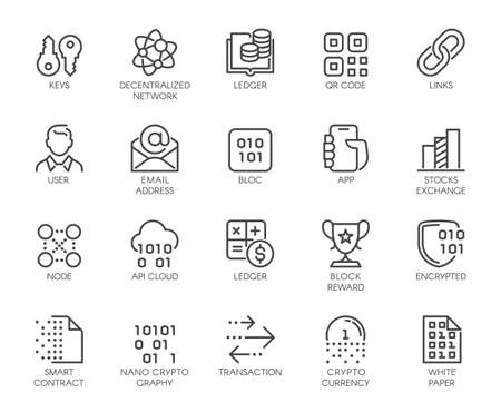 Premium Icons Pack on Blockchain System, Crypto Technology . Such Line Signs as Cryptocurrency, Decentralised Network . Custom Vector Icons Set for Web and App in Outline Style. Editable Stroke. Illustration