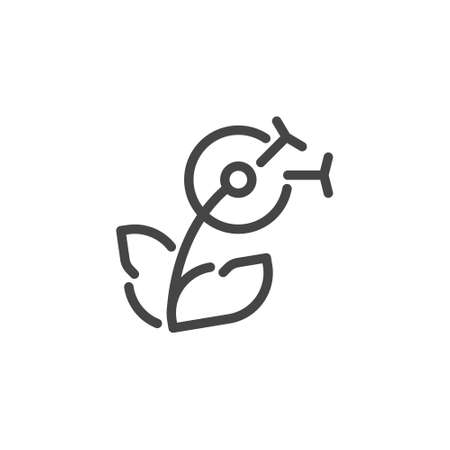 Thin Icon on Delicate, Flower. Such Line Sign as Blooming Dandelion.Custom Vector Pictogram for Web and App in Outline Style. Illustration