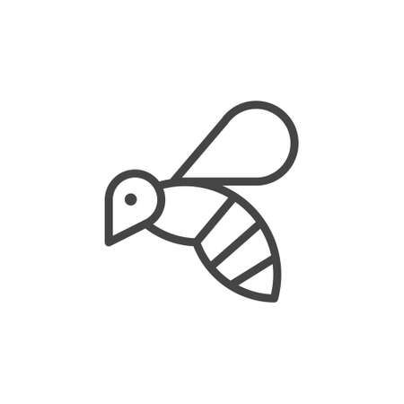 Thin Icon on Insect, Allergen or Products Containing Honey. Such Line Sign as Flying Bee, Wasp or Bumblebee. Vector Pictogram for Web and App in Outline Style. Illustration