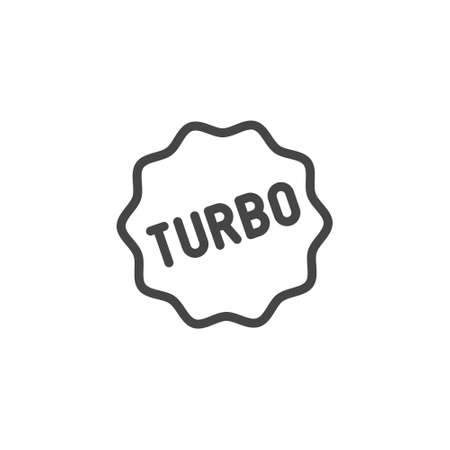 Turbo icon in outline style. Graphic symbol for advertising, promo. Contour label for mobile apps, sites and printed products. Vector illustration isolated. Illustration