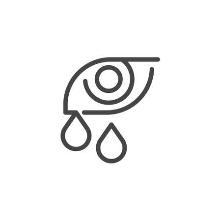 Premium Icon of Human Eye with Tears. Symptoms of Allergies, Conjunctivitis, Eye Fatigue, Viral and Bacterial Diseases. Custom Vector Pictogram Isolated for Web and App in Outline Style.