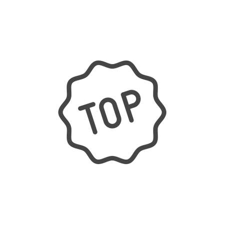 Top word icon. Universal designation of popularity, top service, charts, winners, tips. Line label. Contour badge for mobile apps, sites and printed products. Vector illustration isolated.
