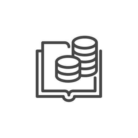 Thin Icon of Accountant, Accounting and Budget or Banking. Such Line Sign as Book Ledger and Cash coins. Custom Vector Pictogram for Web and App in Outline Style Editable Stroke.