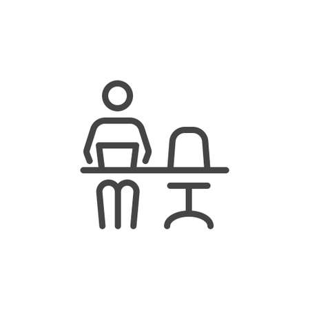 Remote Work. Line Symbol Worker Man at the Desk Designer-Freelancer. Icon in Outline Style From the Set Icons of Coworking and Workplace or Workspace. Custom Vector Pictogram Editable Stroke.