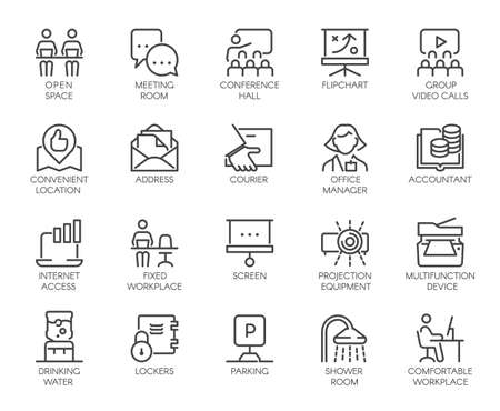Premium Icons Pack of Coworking Center and Workspace, Business Space and Office Equipment. Such Line Signs as Workplace, Accountant, Manager. Custom Vector Icons Set in Outline Style Editable Stroke.