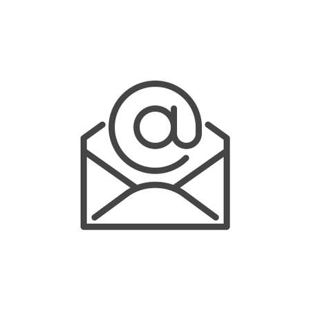 Thin Icon of Email, Address and Mail or Newsletter. Such Line Sign as Isolated Open Envelope and E-mail. Custom Vector Pictogram EPS 10 for Web in Outline Style on White Background Editable Stroke.