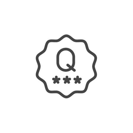 Quality mark line icon. Verified product or service with good reviews concept. Label for online websites, mobile apps, e-commerce. Vector illustration isolated on white background