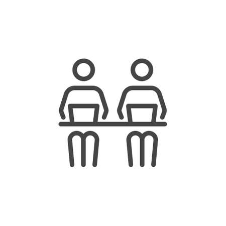 Co working Line Symbol Worker People With Laptops Designers-Development at the Desk. Icon in Outline Style From Pictogram Pack of Coworking, Workplace or Workspace. Custom Vector Sign Editable Stroke.