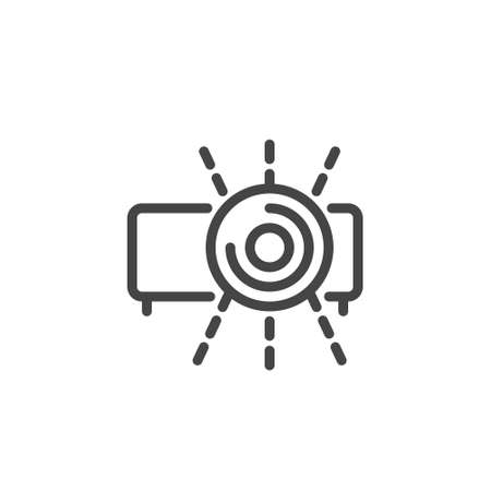 Thin Icon Video Presentation and Office Equipment. Such Line Sign as Isolated Video Projector and Light. Custom Vector Pictogram EPS 10 for Web in Outline Style on White Background Editable Stroke.