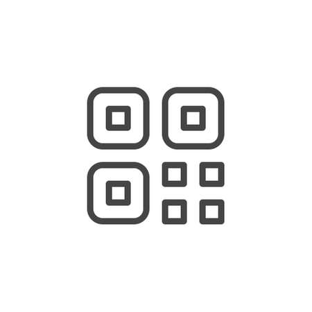 Thin Icon Qr Code. Line Sign Isolated. Custom Vector Pictogram EPS 10 for Web in Outline Style on White Background Editable Stroke.