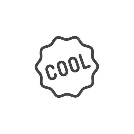 Cool word in frame icon. Graphic sticker of expression of admiration, joy, approval. Line tag for apps, sites and printed products. Vector isolated of badges starlike stickers set.