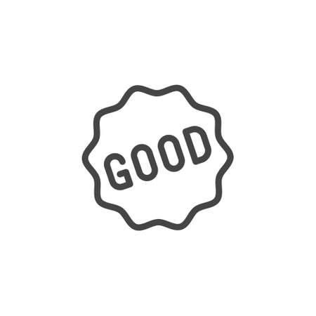 Good word in frame icon. Graphic symbol for ads, promotions e-commerce, sticker for messenger. Line tag for apps, sites and printed products. Vector isolated of badges starlike stickers set.