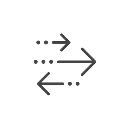 Thin Outline Transactions Icon. Such a Line sign as Transaction and Exchange or Transfer, Arrows Left and Right. Vector Computer Custom Pictograms  for Web on White Background, Editable Stroke.