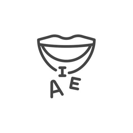 Thin Outline Mouth and Letters Icon. Such Line sign as Articulation, Speech Therapy, Talk or Speak. Vector Computer Custom Isolated Pictograms EPS 10 for Web on White Background Editable Stroke. Illustration