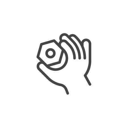 Thin Outline Icon Hand and Nut. Such Line sign as Fine Motor Skills, Preschool Learning, Educational Games. Vector Computer Custom Isolated Pictograms , for Web on White Background Editable Stroke.