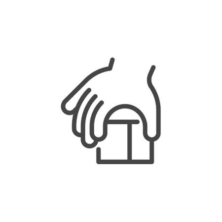 Thin Outline Icon Children Hand and Block, Such Line sign as Fine Motor Skills, Learning Educational Games. Vector Computer Custom Isolated Pictograms , for Web on White Background Editable Stroke.